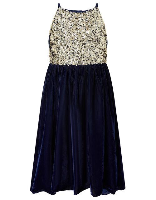 Truth Sequin Velvet Hi-Low Dress, Blue (NAVY), large