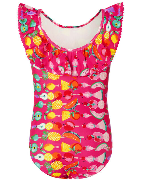 Fruit Print Frill Swimsuit, Pink (BRIGHT PINK), large