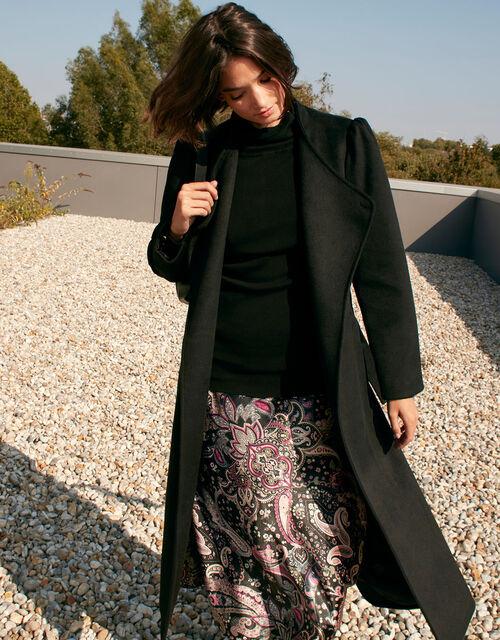 Paisley Print Satin Midi Skirt, Black (BLACK), large