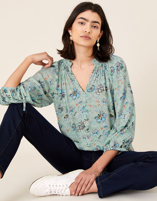 Embellished Blouse in LENZING™ ECOVERO™, Green (GREEN), large