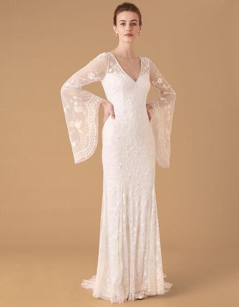 Evelina Bridal Fluted Sleeve Embellished Dress Ivory, Ivory (IVORY), large