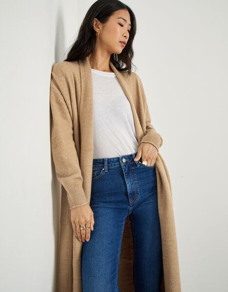 Longline Cardigan with Recycled Polyester Camel, Camel (CAMEL), large