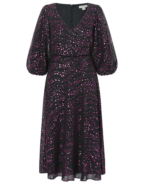 Gracie Foil Print Midi Dress, Black (BLACK), large