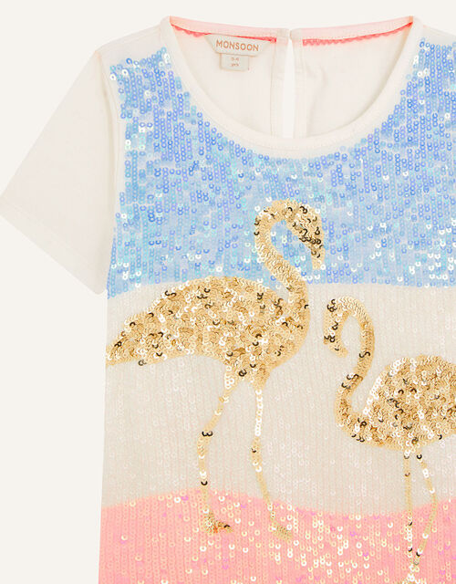 Sequin Flamingo Top, Ivory (IVORY), large