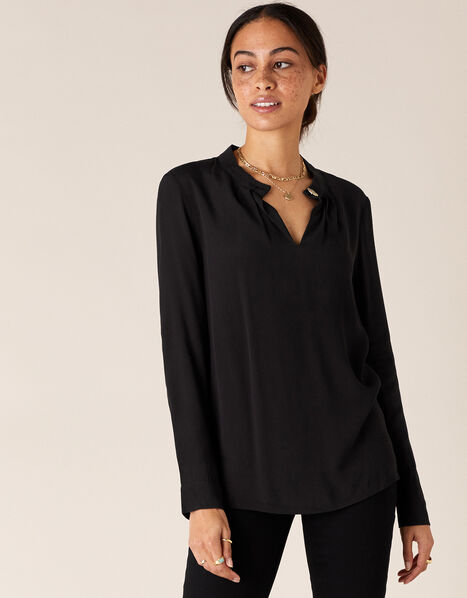 Gold Button Blouse with LENZING™ ECOVERO™ Black, Black (BLACK), large