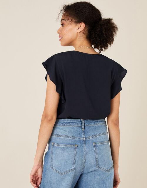 Ruffle Short Sleeve Blouse, Blue (NAVY), large