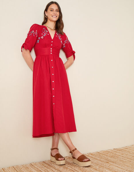 Dolly Floral Embroidered Midi Dress Red, Red (RED), large