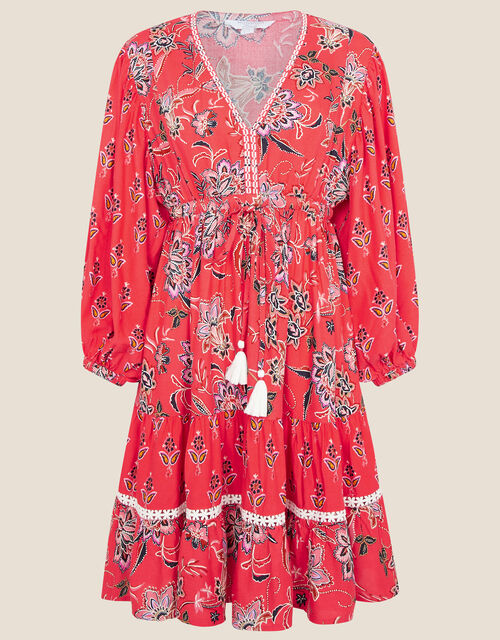 Anissia Floral Dress, Red (RED), large