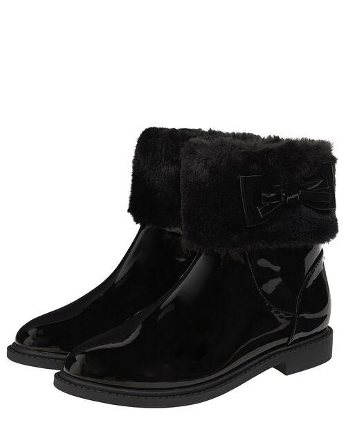 Fluffy Trim Patent Ankle Boots, Black (BLACK), large