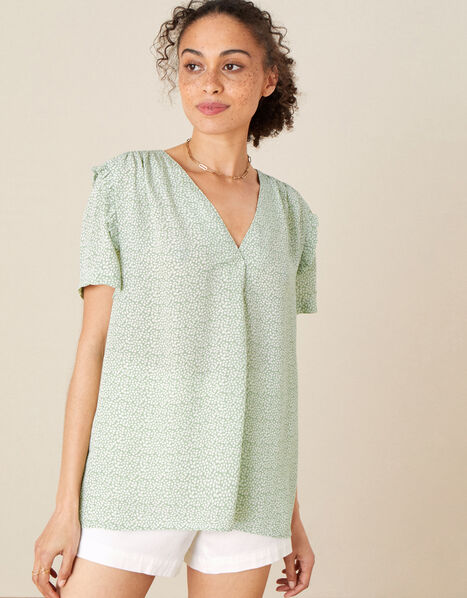 Freedie Ruffle Sleeve Printed Top Green, Green (GREEN), large