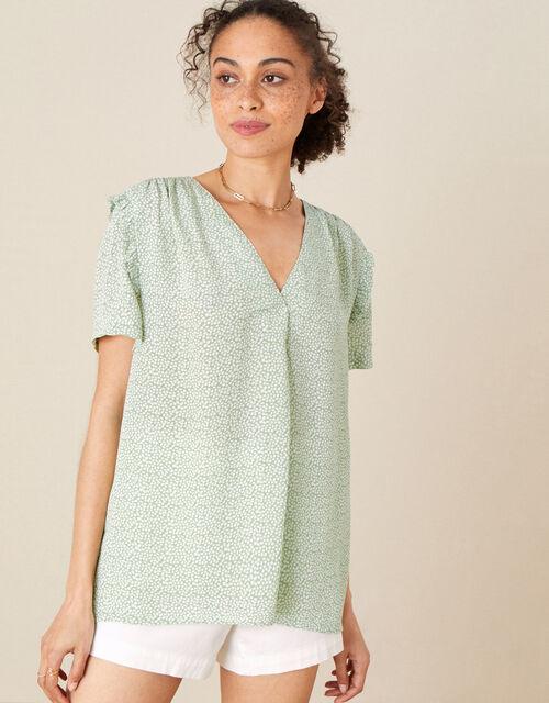 Freedie Ruffle Sleeve Printed Top, Green (GREEN), large