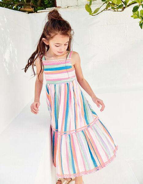 Painterly Stripe Midi Dress  Multi, Multi (MULTI), large