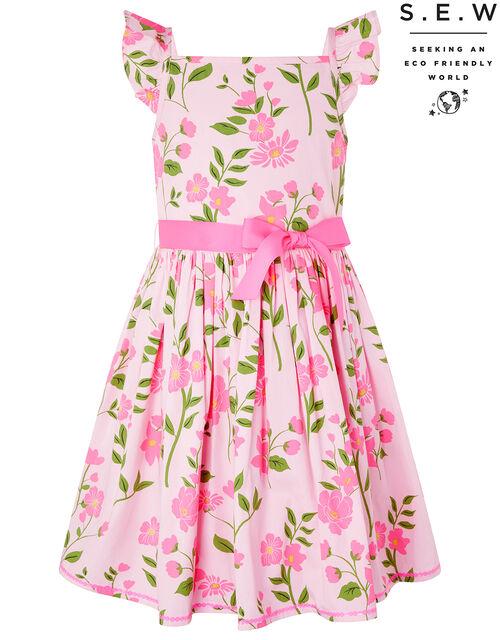 Mavis Floral Dress in Organic Cotton, Pink (PALE PINK), large