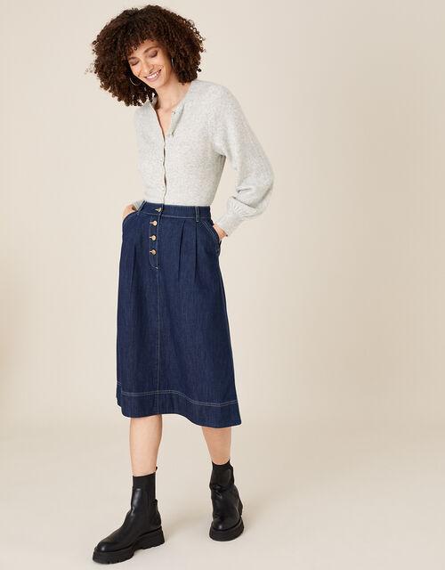 Denim Midi Skirt in Organic Cotton , Blue (INDIGO), large
