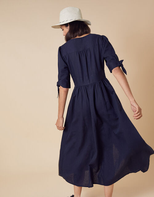 Puff Sleeve Midi Dress in Linen Blend, Blue (NAVY), large