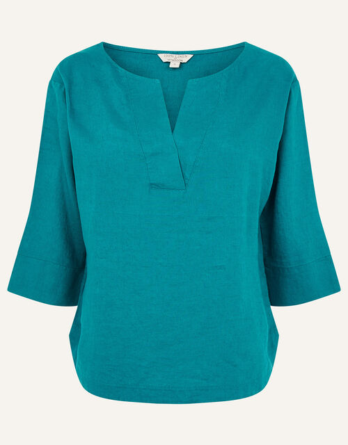 Daisy Plain T-Shirt in Pure Linen, Teal (TEAL), large