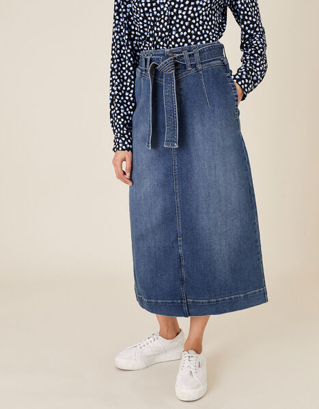 Straight Denim Midi Skirt Blue, Blue (DENIM BLUE), large
