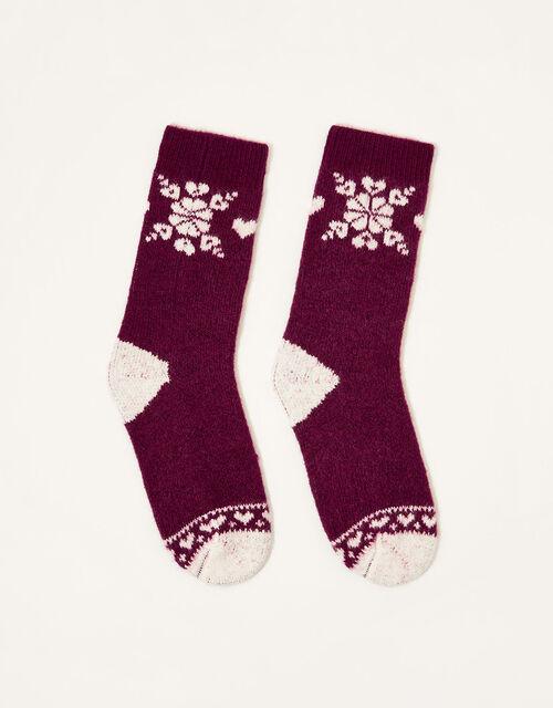 Fair Isle Knit Socks, , large