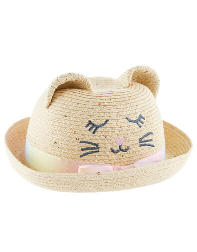 Baby Kitty Sequin Bowler Hat Natural, Natural (NATURAL), large
