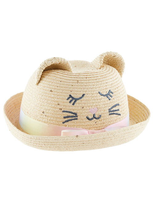 Baby Kitty Sequin Bowler Hat, Natural (NATURAL), large