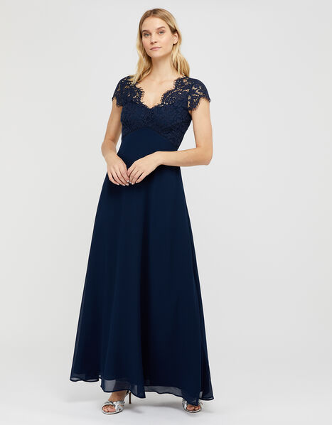 Marne Maxi Dress with Floral Lace Blue, Blue (NAVY), large