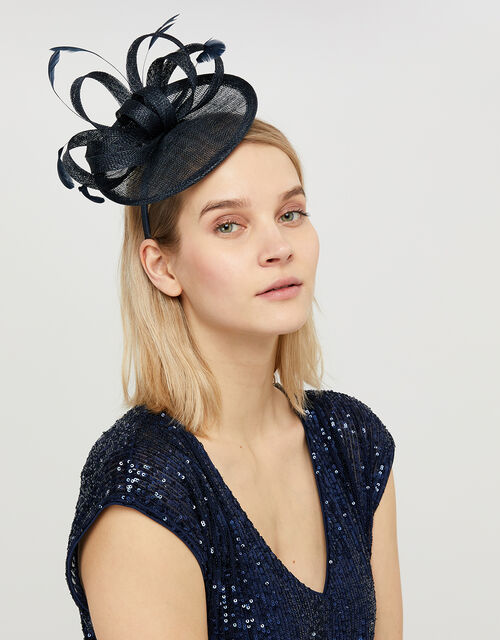 Malin Bow Disc Feather Fascinator, Blue (NAVY), large