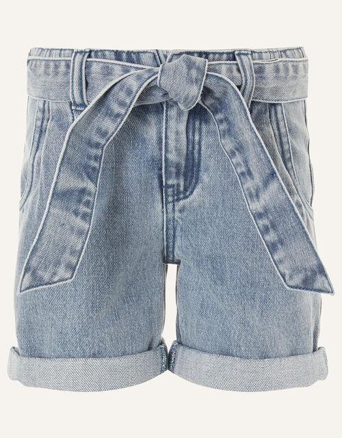 Belted Denim Shorts , Blue (BLUE), large