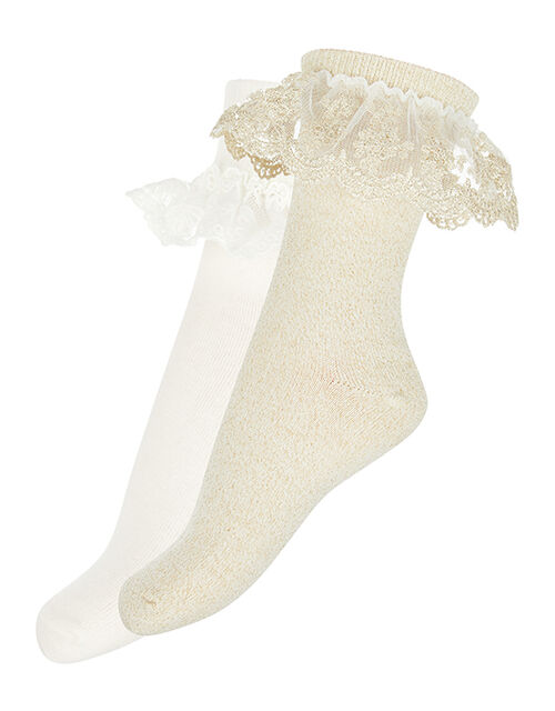 Lace Frill Sock Multipack, Gold (GOLD), large