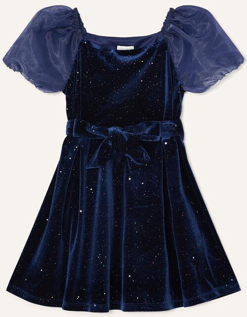 Puff Sleeve Sparkle Velvet Dress, Blue (NAVY), large