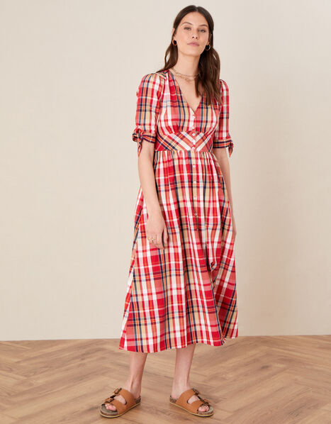 Check Midi Dress in Organic Cotton Red, Red (RED), large