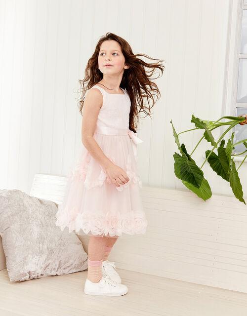 Rosette Lace Dress, Pink (PALE PINK), large