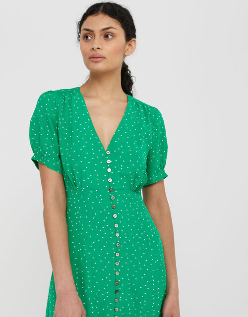 Spot Print Midi Dress in Sustainable Viscose, Green (GREEN), large