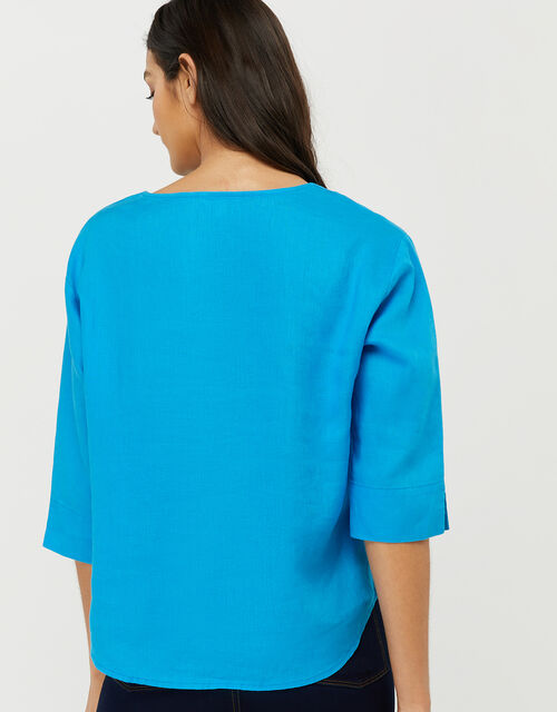 Scarlet Relaxed Blouse in Pure Linen, Blue (BLUE), large