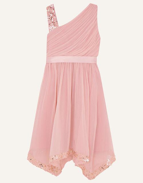 One-Shoulder Sequin Dress, Pink (PINK), large