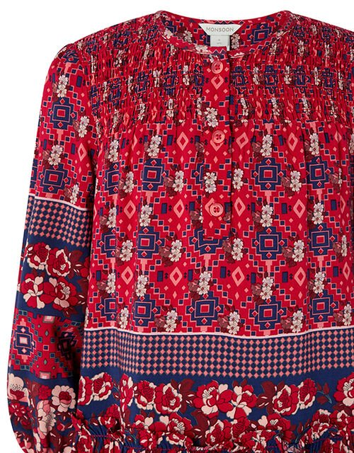 Deanna Mini Me Printed Dress in Sustainable Viscose, Red (RED), large