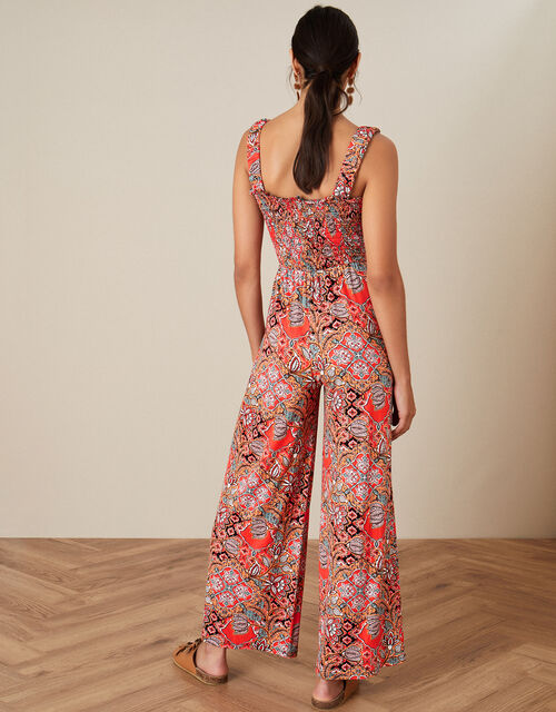 Tile Print Jumpsuit, Orange (CORAL), large