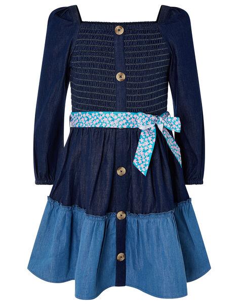 Shirred Denim Dress Blue, Blue (BLUE), large