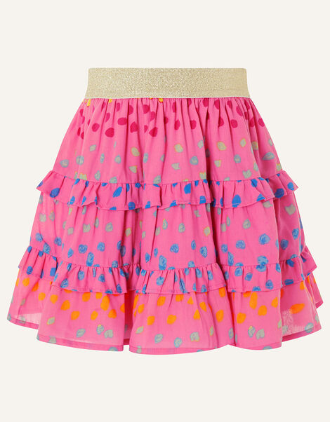 Rainbow Spot Frill Skirt Pink, Pink (BRIGHT PINK), large