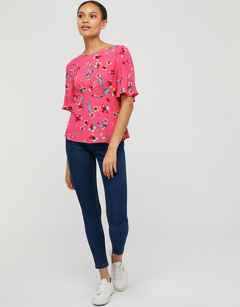 Maisy Floral Top in LENZING™ ECOVERO™ Pink, Pink (BLUSH), large