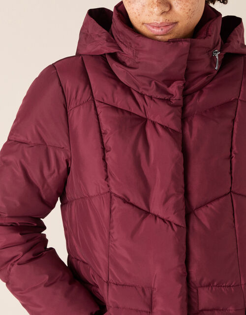 Elizabeth Padded Jacket in Recycled Fabric, Red (BERRY), large