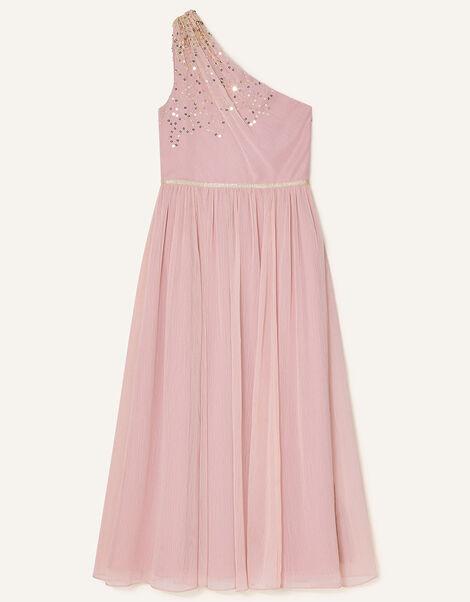 Sequin One-Shoulder Prom Dress Pink, Pink (DUSKY PINK), large