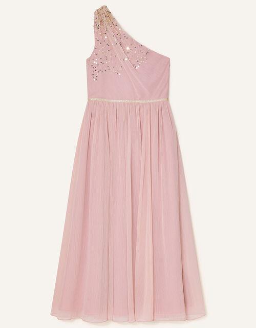 Sequin One-Shoulder Prom Dress, Pink (DUSKY PINK), large