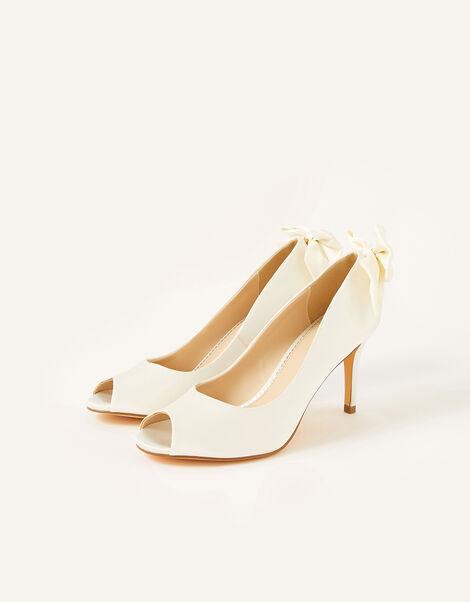 Bessie Bridal Satin Peeptoe Heels with Bow Ivory, Ivory (IVORY), large