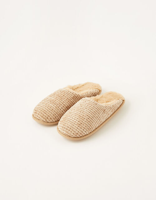 Chenille Mule Slippers, Brown (MOCHA), large
