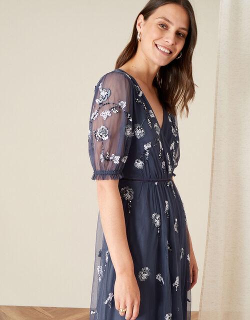 Mellie Embellished Midi Dress, Grey (CHARCOAL), large