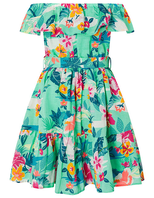 Petunia Floral Dress in Linen and Organic Cotton, Green (GREEN), large