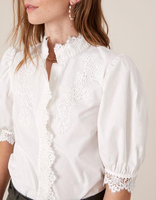 Victoriana Lace Trim Poplin Shirt, White (WHITE), large