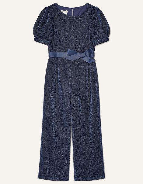 Erin Sparkle Puff Sleeve Jumpsuit Blue, Blue (NAVY), large