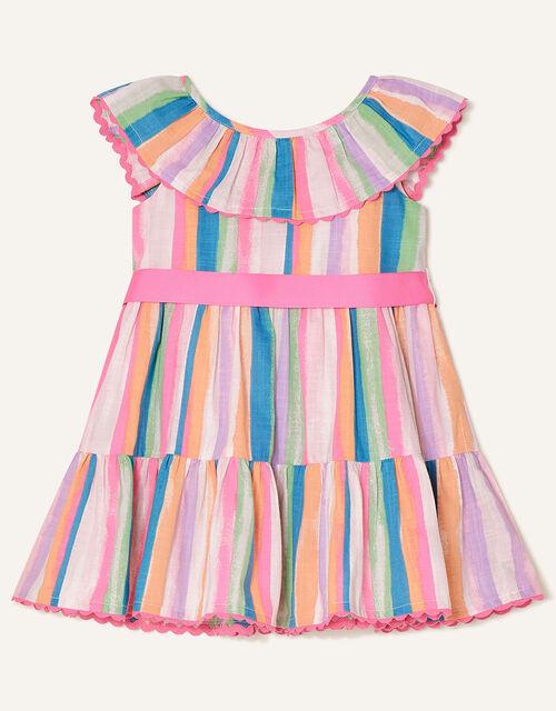 Baby Painterly Stripe Frill Dress , Multi (MULTI), large