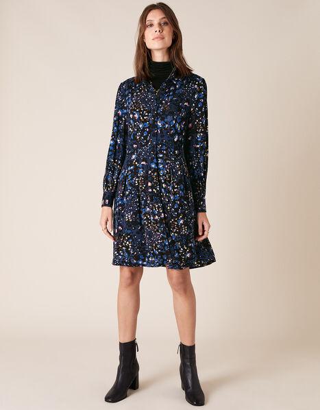 Leopard Print Jersey Shirt Dress Blue, Blue (NAVY), large